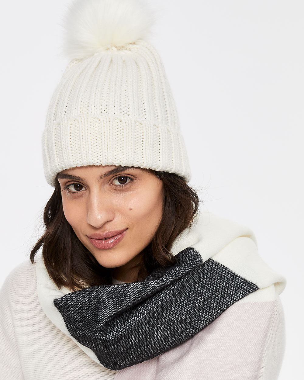 Faux-fur Pompom Knit Hat  63a6a57d23b