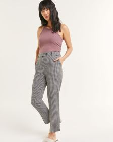 High Rise Gingham-Printed Ankle Pants - Tall
