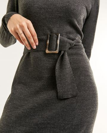 Long Sleeve Funnel Neck Sweater Dress with Belt