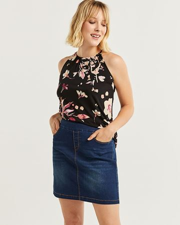 Medium Wash Denim Pull On Skort