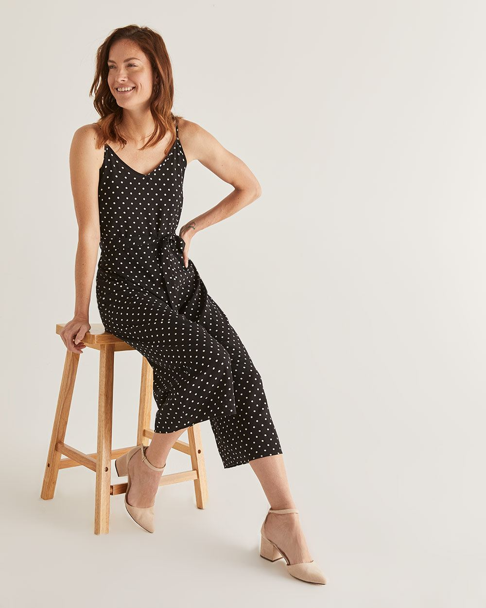 Polka Dot Wide Leg Cropped Jumpsuit