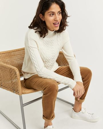 Cable Knit Mock Neck Sweater