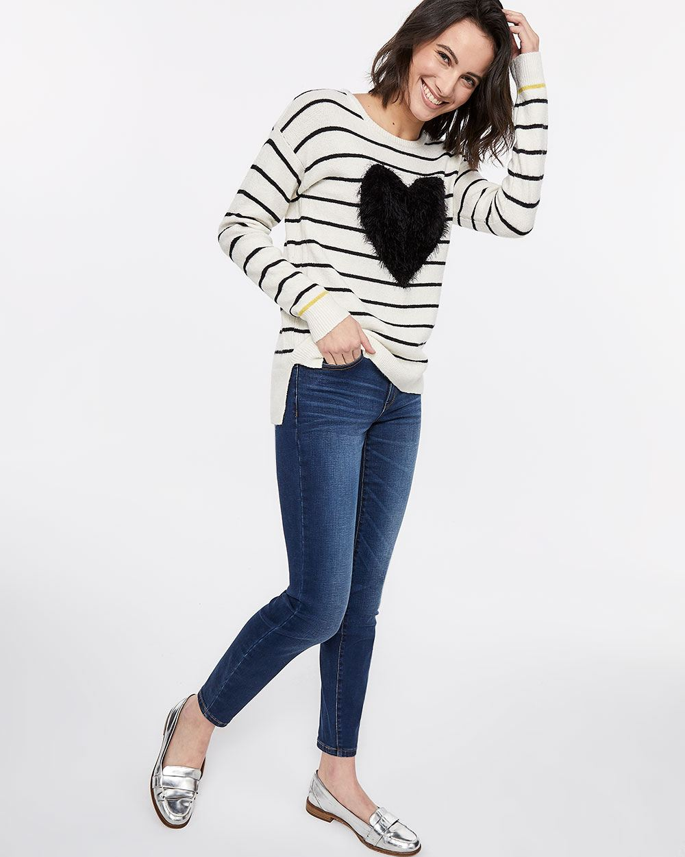 Plush Heart Stripe Sweater