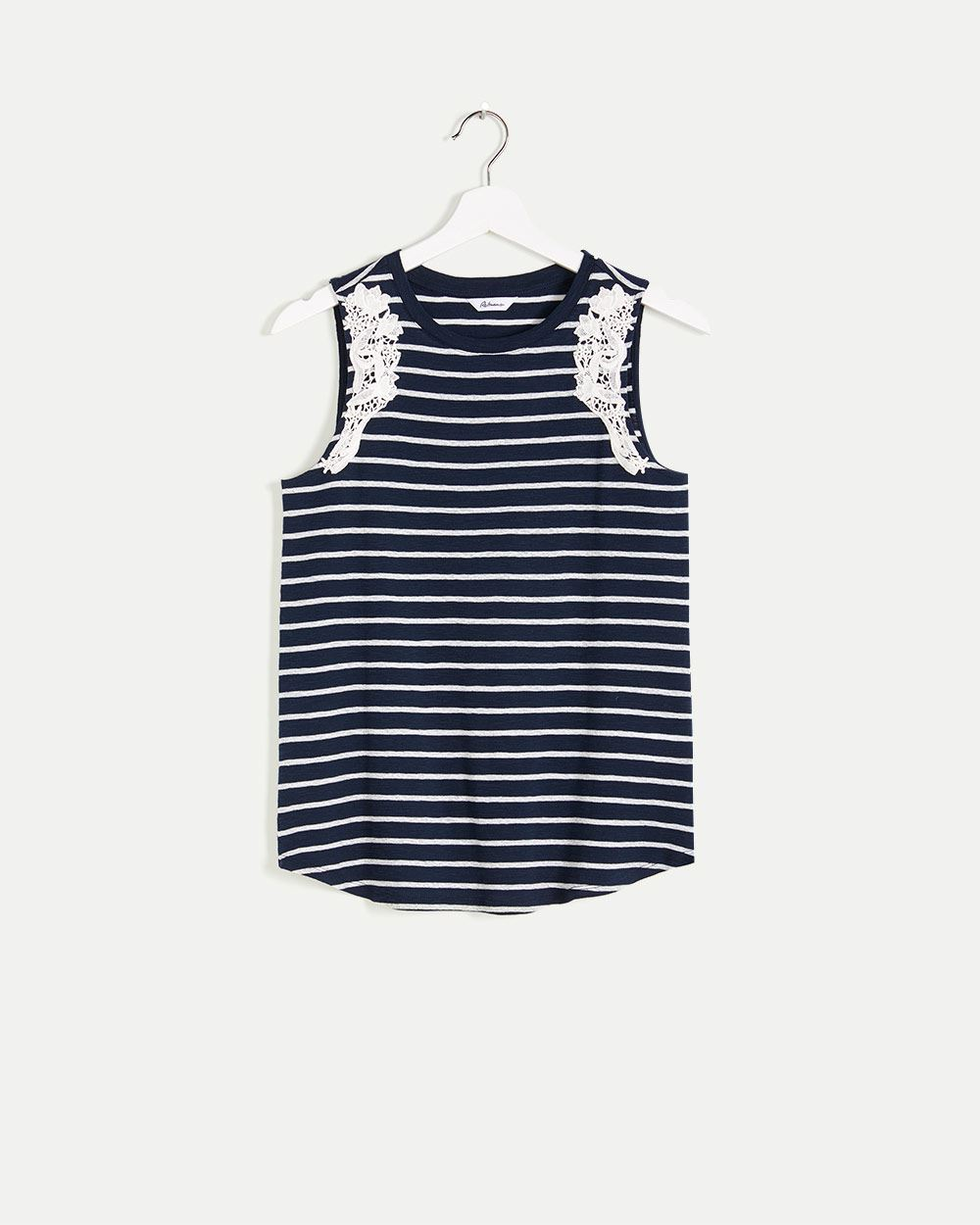 Striped Tank Top with Crochet Inserts