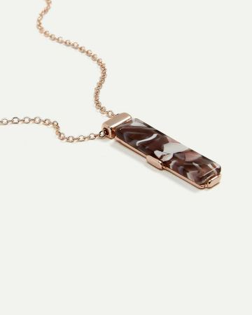 Rectangular Shaped Resin Pendant Necklace