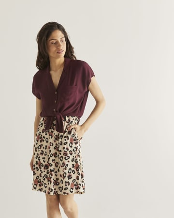 A-Line Printed Skirt with Pockets