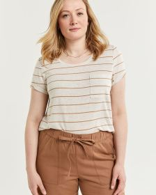 Linen-Blend Striped Tee with Pocket