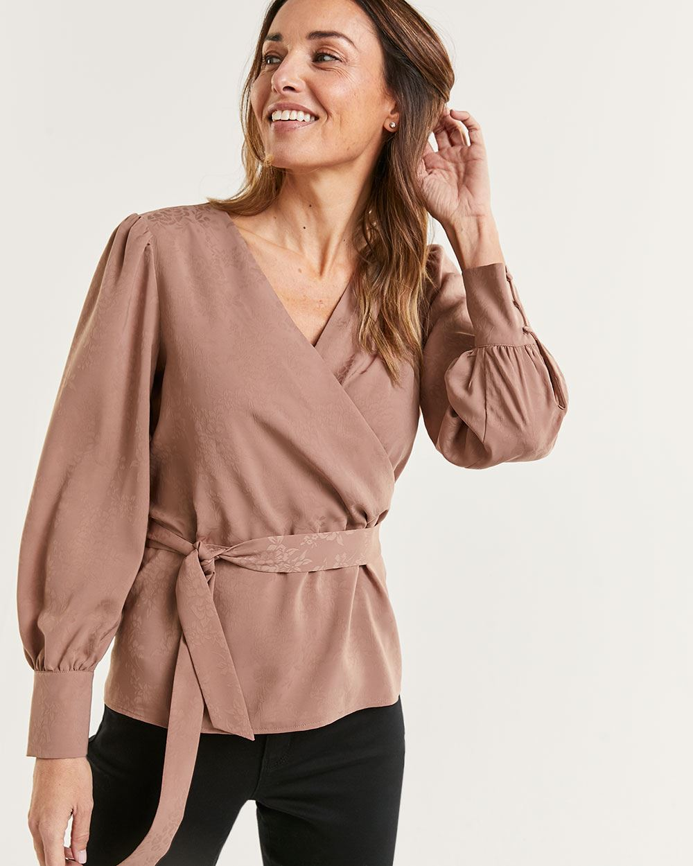 Long Sleeve Satin Wrap Blouse with Belt