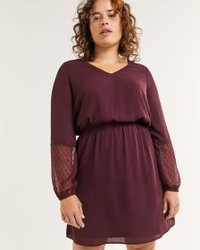 Long Sleeve V-Neck Dress with Chiffon Inserts