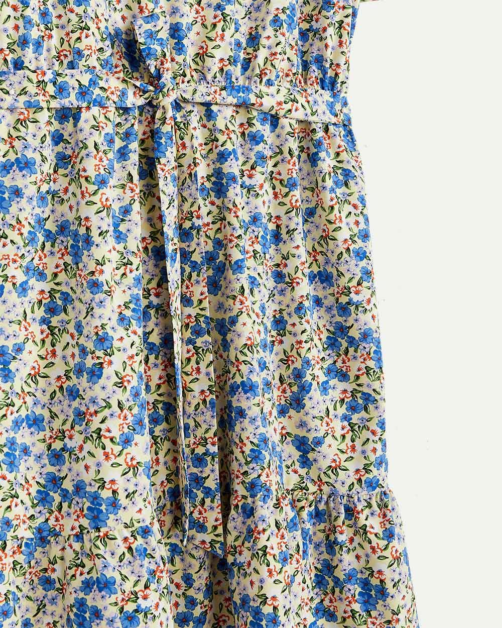 Short Sleeve Floral Dress with Sash