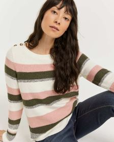 Striped Boat Neck Sweater with Buttons at Shoulders