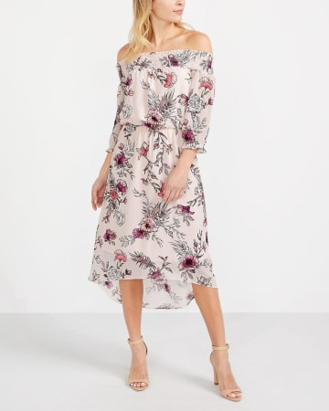 Off-The-Shoulder Printed Dress