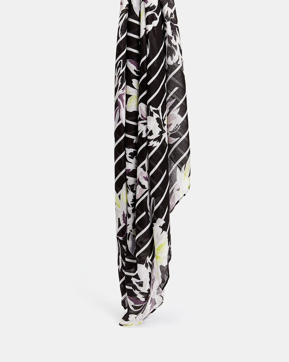 Flower and Stripes Print Scarf