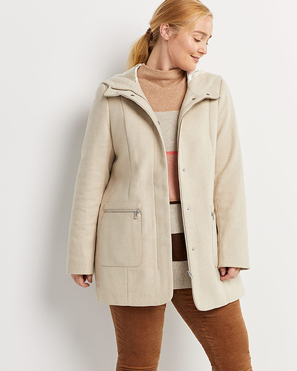 Hooded Coat with Patch Pockets