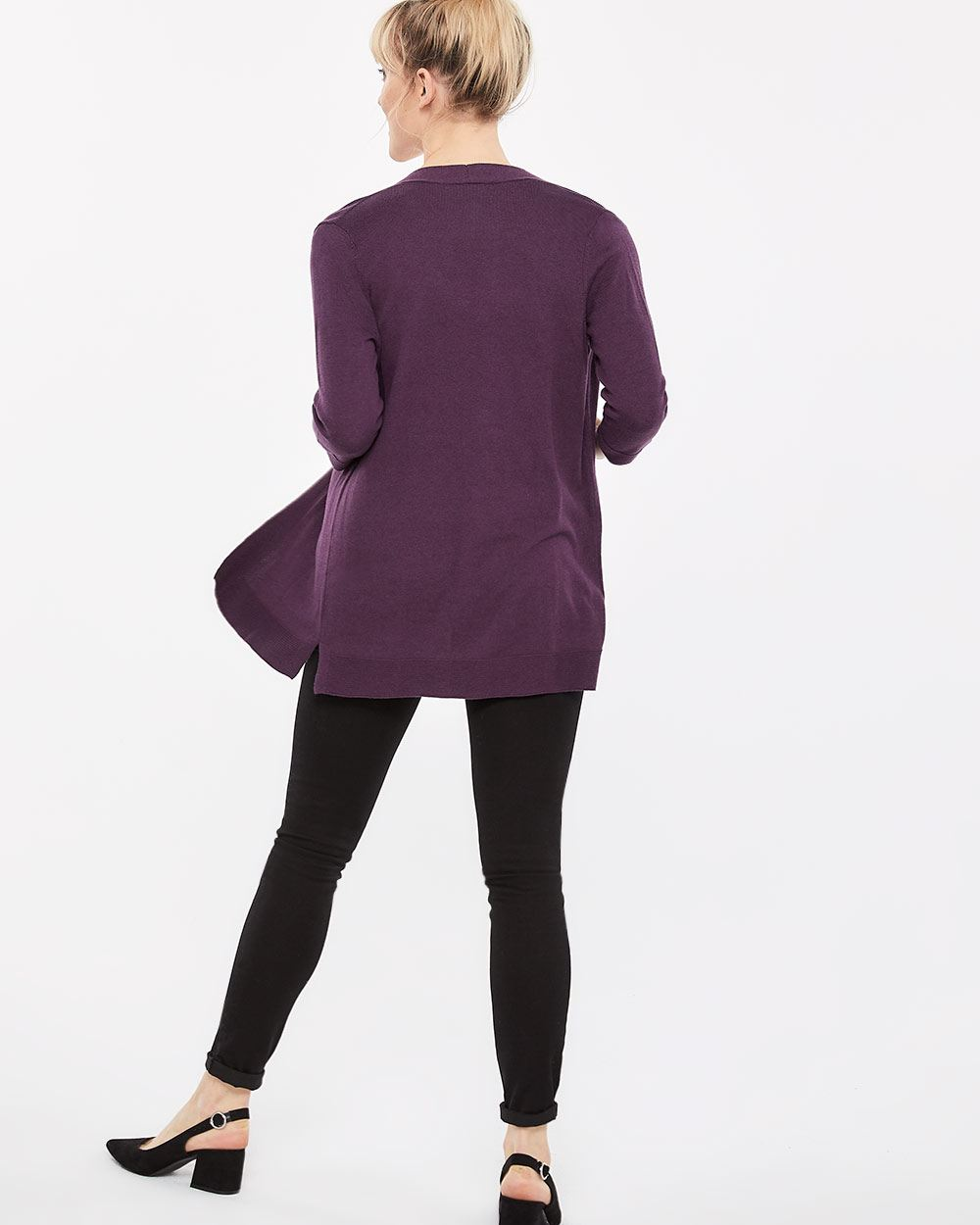 R Essentials 3/4 Sleeve Open Cardigan