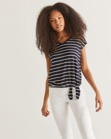 Striped Tee with Front Tie