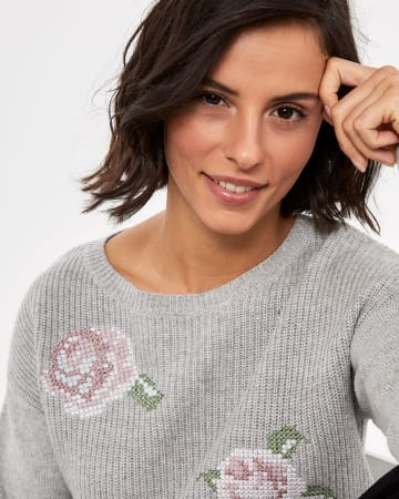 Floral Point de Croix Patterned Sweater