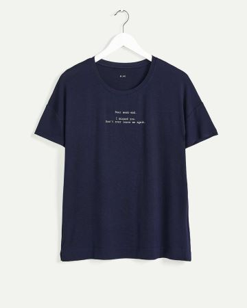 Short Sleeve Crew Neck Screen Print Pyjama Tee