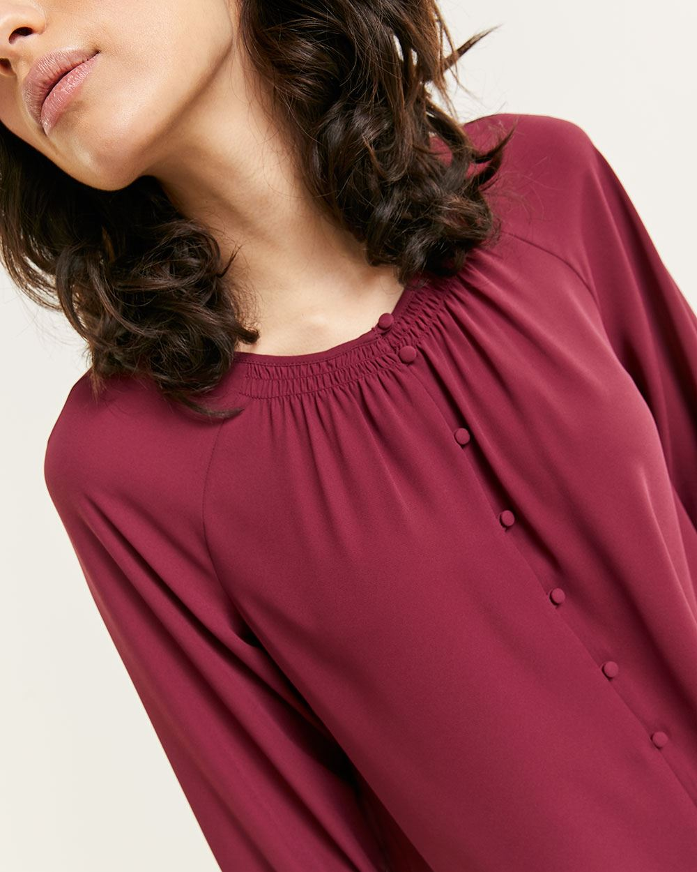 3/4 Sleeve Boat Neck Blouse with Smocking