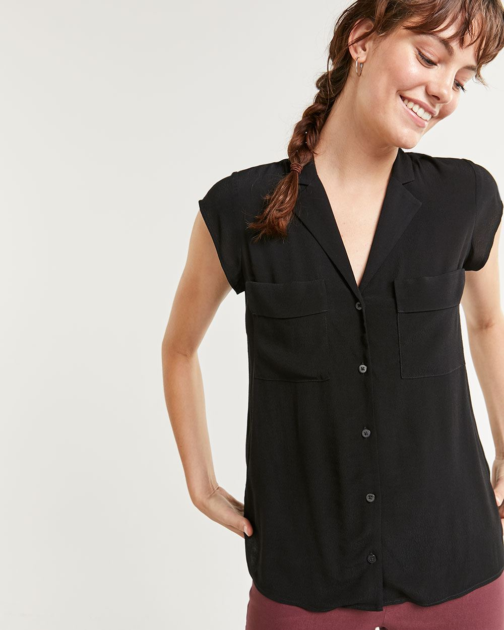 Notched Collar Cap Sleeve Blouse
