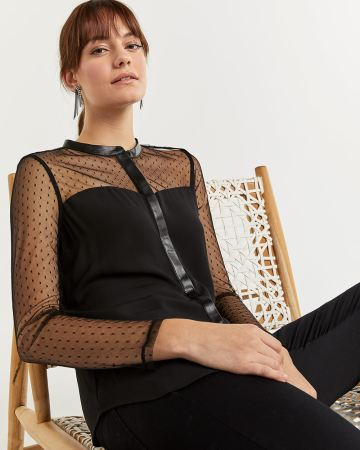 Long Sleeve Mao Collar Shirt with Dotted Mesh