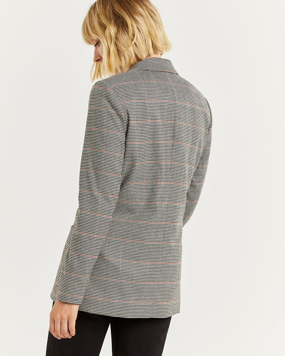 Double-Breasted Houndstooth Blazer