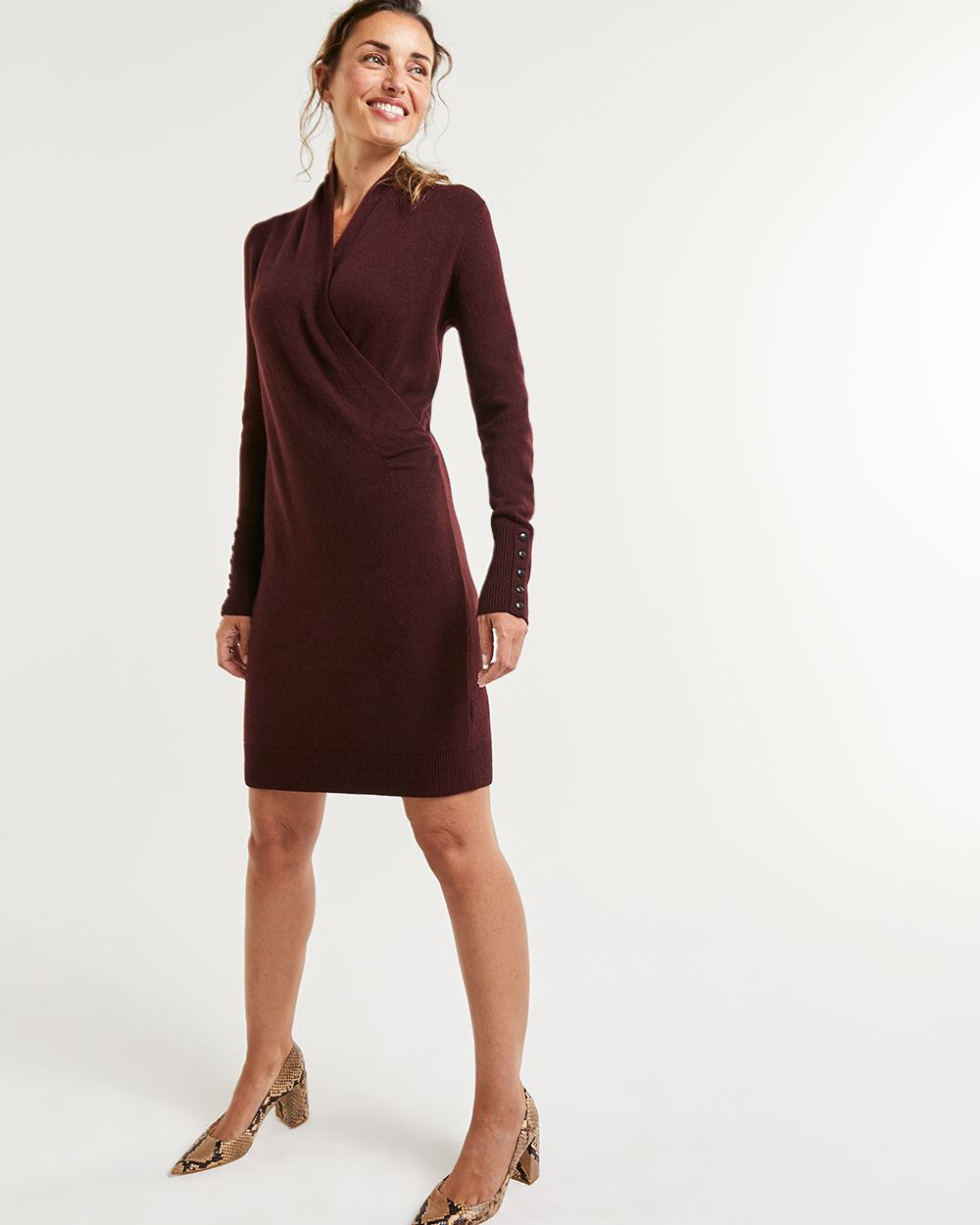 Long Sleeve Wrap Neckline Sweater Dress