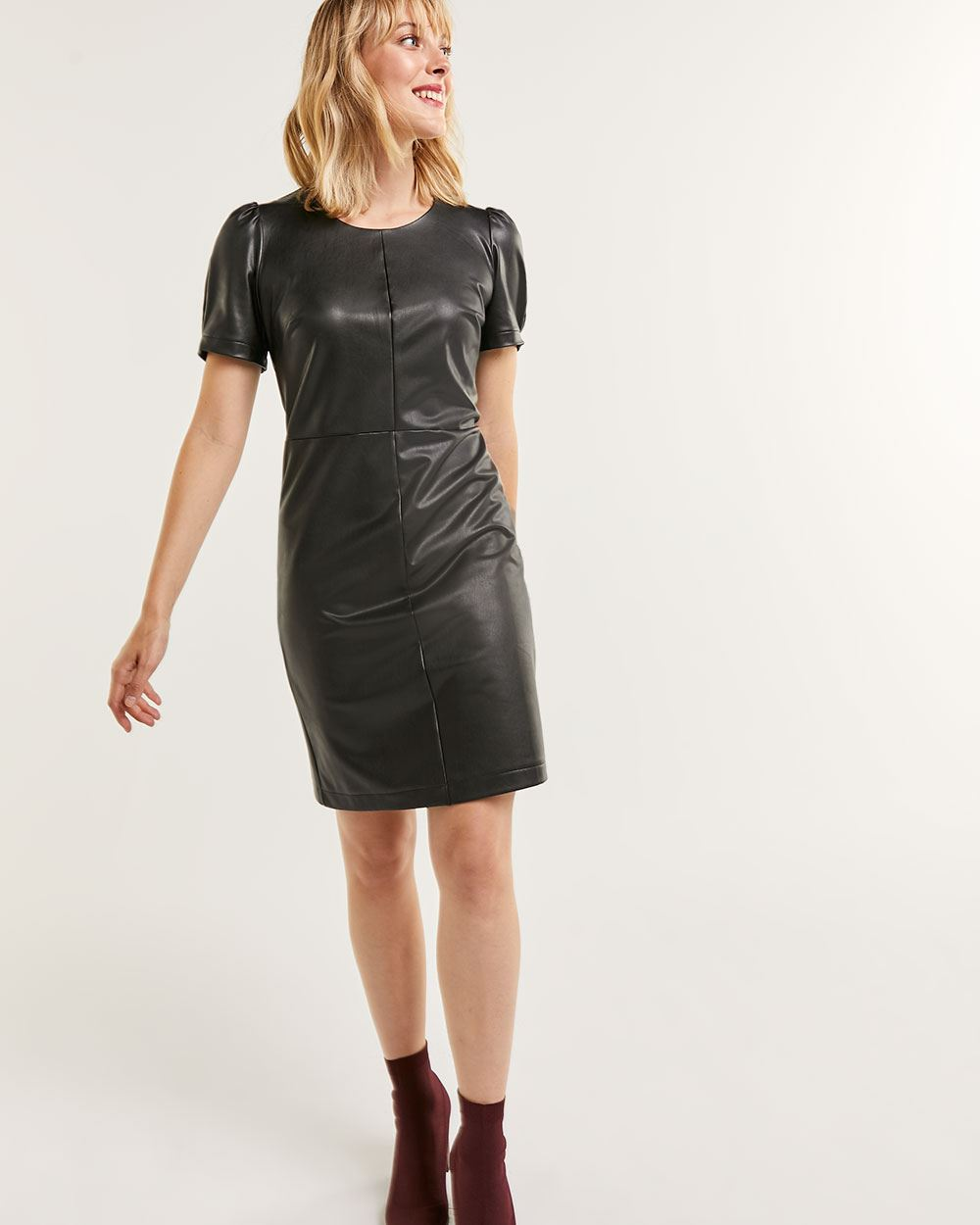 Short Puff Sleeve Faux Leather Bodycon Dress