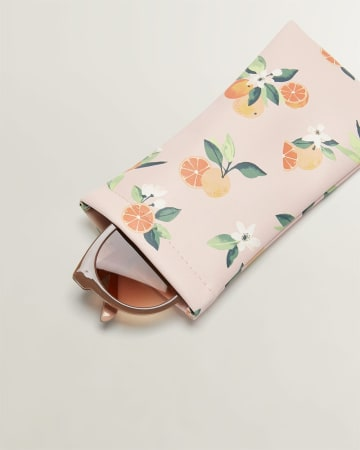 Orange Blossom Print Sunglasses Case
