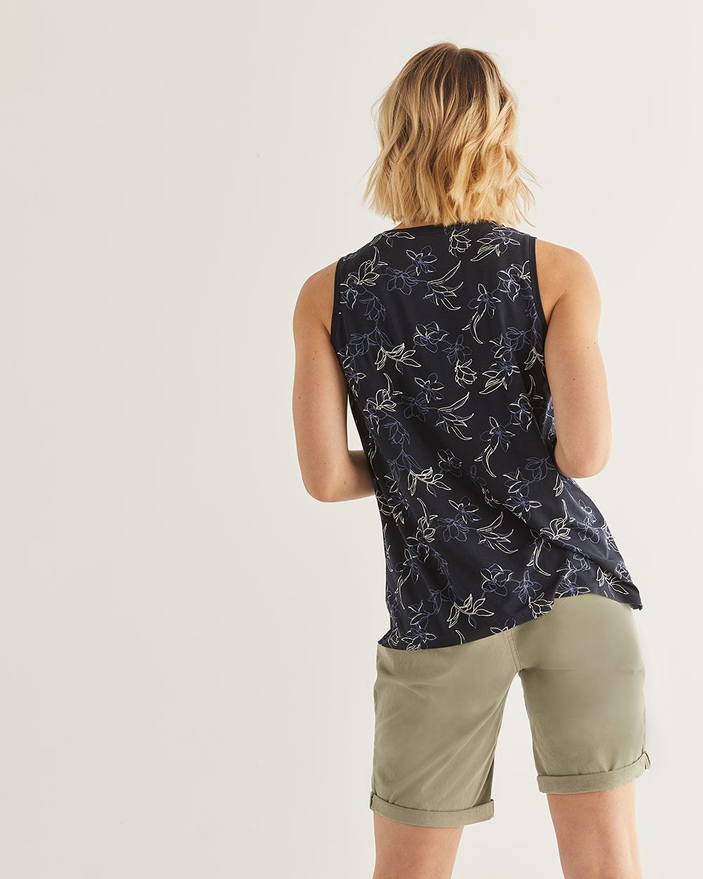 Smocked Floral Printed Tank Top