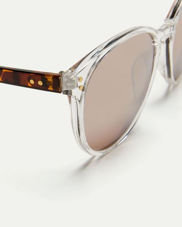 Clear Sunglasses with Tortoise Details