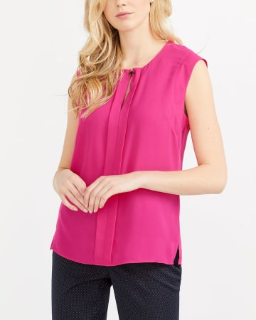Willow & Thread Cap Sleeve Pleated Top