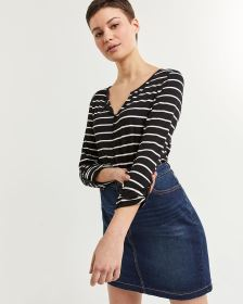 3/4 Sleeve Striped Tee with Buttons