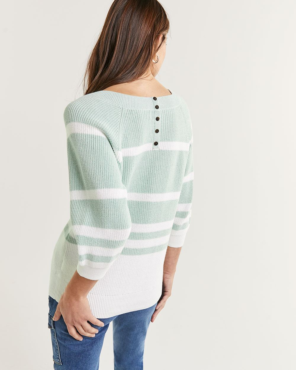 3/4 Balloon Raglan Sleeve V-Neck Stripped Sweater