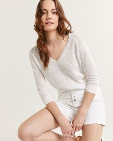 3/4 Raglan Sleeve V Neck Sweater
