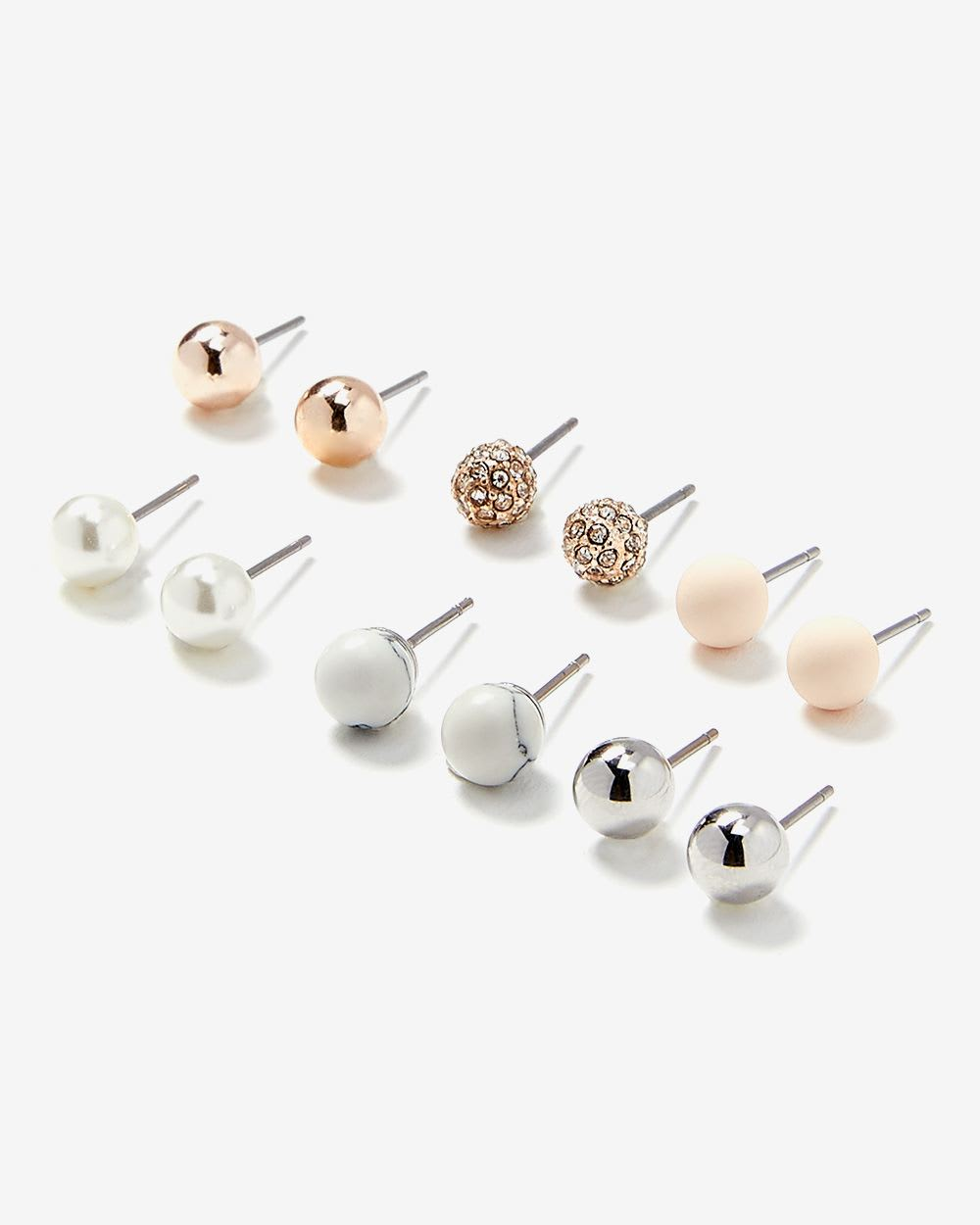 6-Pair Set of Stud Earrings