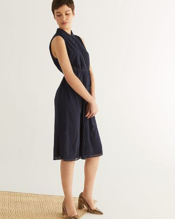 Sleeveless Navy Shirt Dress
