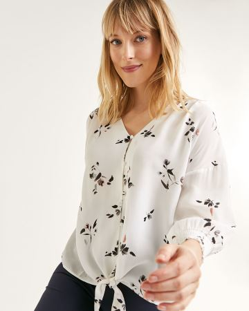 3/4 Sleeve V-Neck Printed Blouse with Front Knot
