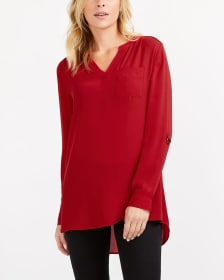 Adjustable Sleeve High-Low Hem Tunic Top