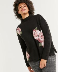 Funnel Neck Floral Pattern Sweater