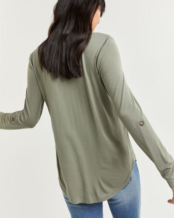 3/4 Sleeve Mix Media Top with Pockets