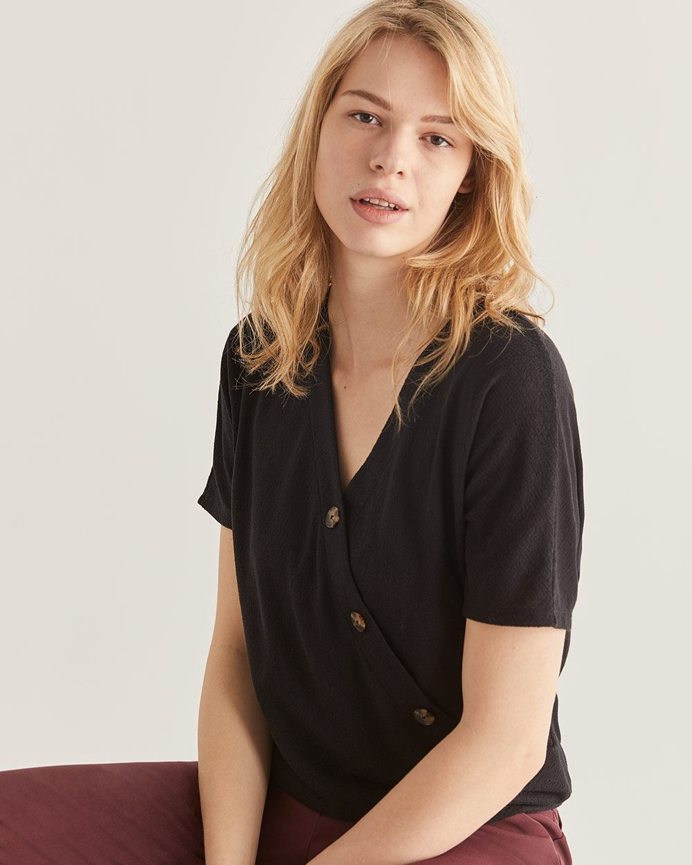 Asymmetrical Button Black Tee - Petite