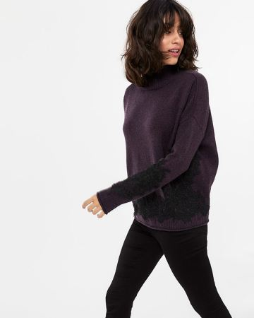 Appliqué Mock Neck Sweater