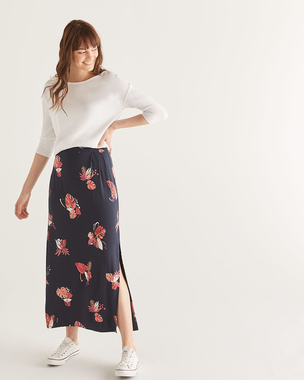 Floral Print Maxi Skirt with Pleats