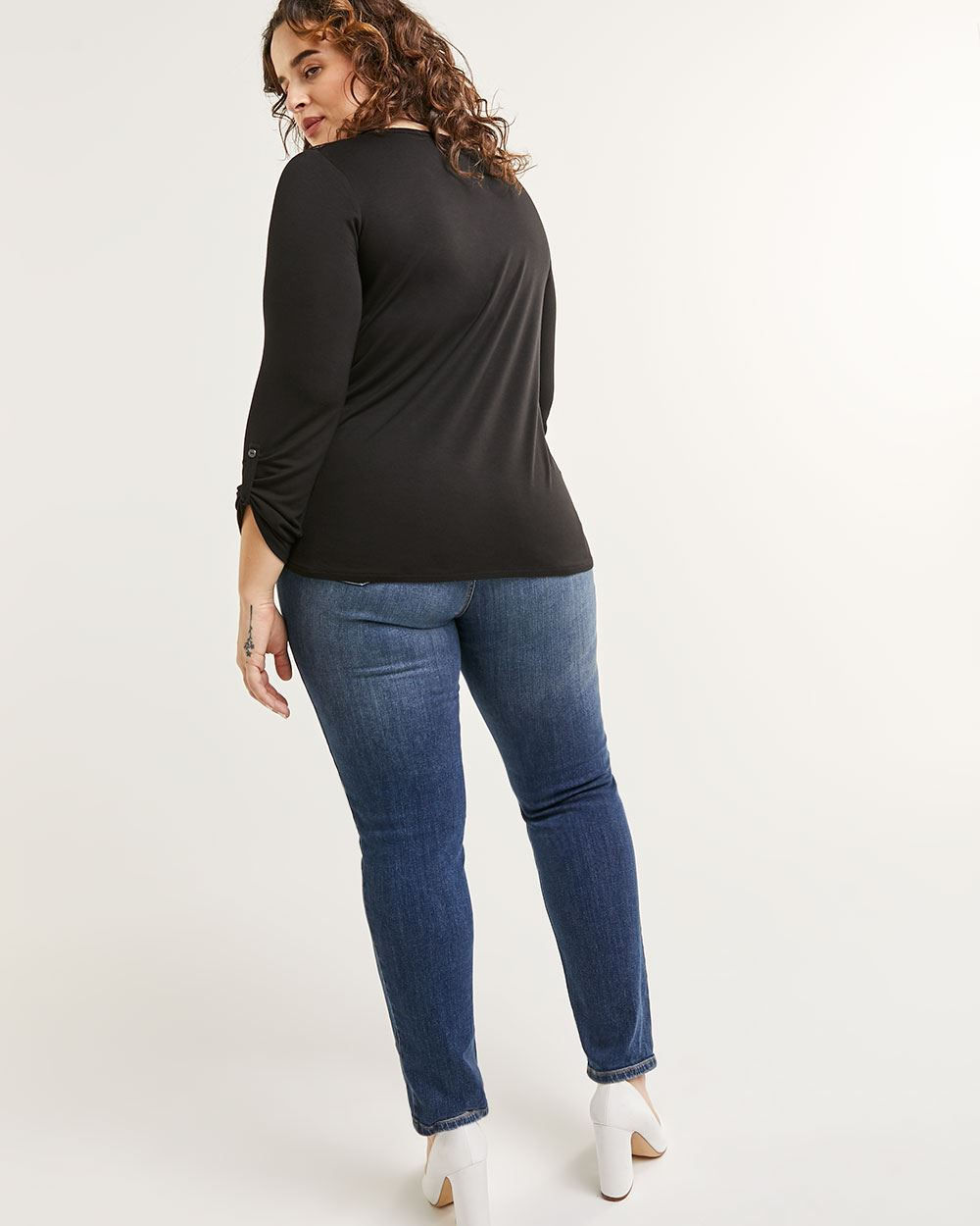 Long Sleeve Henley Neck Tee with Crochet Inserts