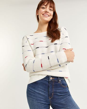 Striped Cotton Sweater with Boat Neck