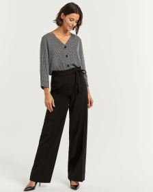 Black Wide Leg Pants with Sash