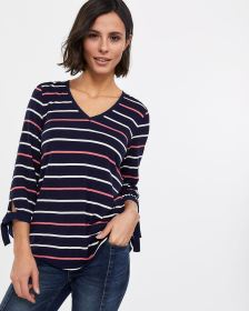 3/4 Sleeve Bow Cuff Top