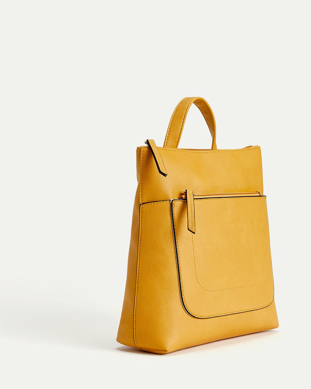 Yellow Faux Leather Modern Backpack