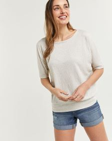 Elbow Sleeve Jacquard Tee